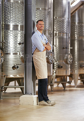 Buy stock photo Portrait of a mature wine maker standing next to his steel vats in his cellar