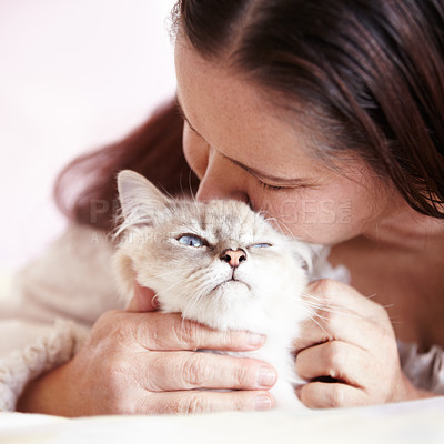 Buy stock photo A woman giving her little cat some extra loving