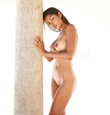 Buy stock photo Portrait of a pretty young naked woman leaning against a palmtree on a white background