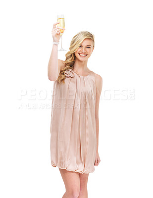 Buy stock photo A gorgeous young blonde woman toasting you