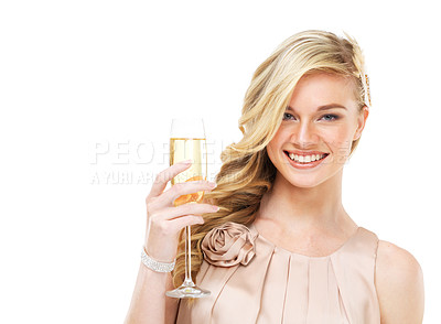Buy stock photo Closeup of a stunning young blonde woman holding a glass of champagne