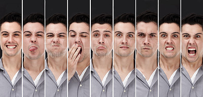 Buy stock photo Composite image of a young man displaying different personalities