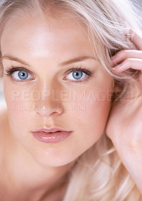 Buy stock photo Closeup portrait of a stunning young blonde woman