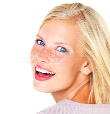 Buy stock photo Beautiful young blond woman smiling and laughing happily