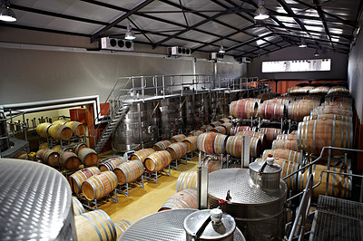 Buy stock photo Wine barrels and fermentation vessels in a factory