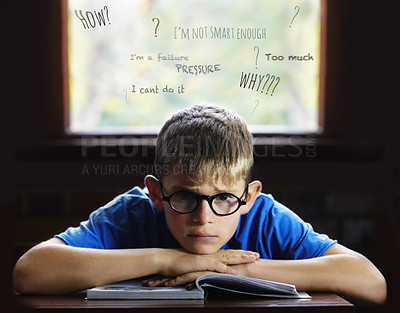 Buy stock photo Young boy feeling overcome with boredom in the classroom