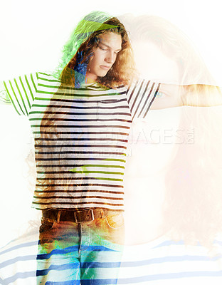 Buy stock photo Image of a young man with long, curly hair looking casual - Graphic overlay over the image