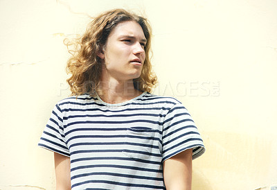 Buy stock photo Young man with long, curly hair and a casual sense of style