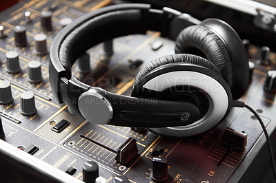 Buy stock photo Closeup of a soundboard and headphones
