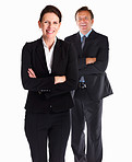Business woman and a business man standing on white