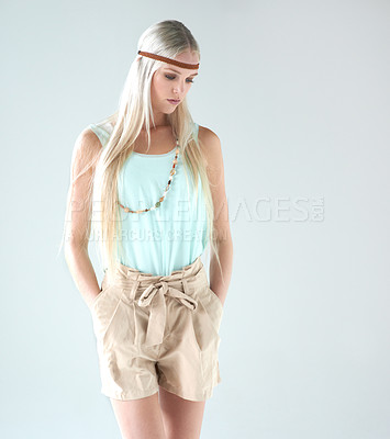 Buy stock photo An attractive young woman dressed as a hippie