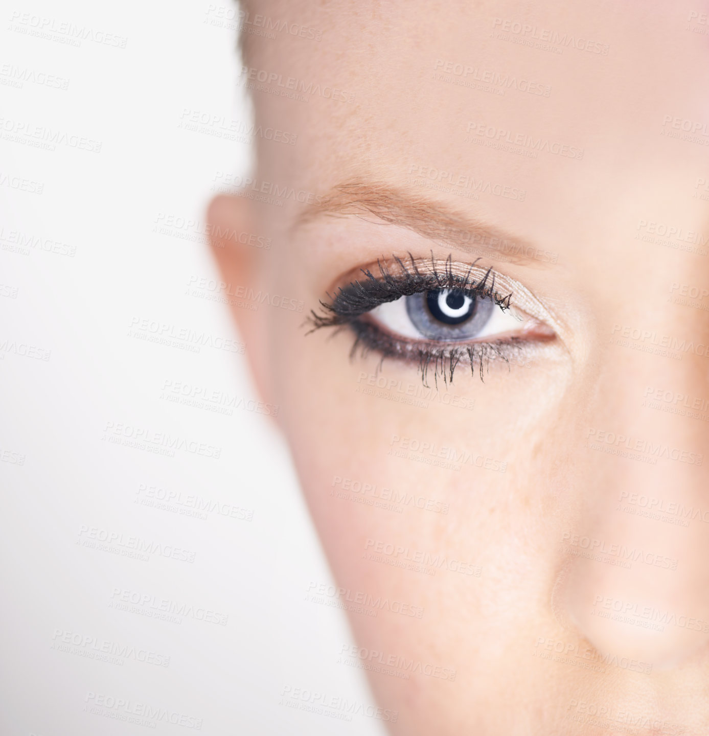 Buy stock photo Closeup of a beautiful young woman's eye with make-up applied