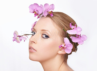 Buy stock photo Studio portrait of a gorgeous young woman with pink orchids in her hair