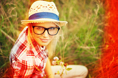 Buy stock photo Lomography portrait of a young hipster woman outside