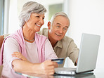 A senior couple shopping online using  laptop