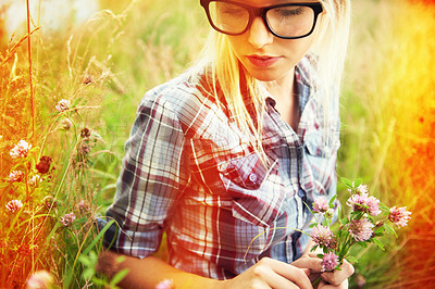 Buy stock photo Beautiful young hipster in a field - lomo-style photography