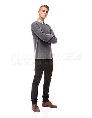 Buy stock photo A full length studio shot of a stylishly dressed young man isolated on white
