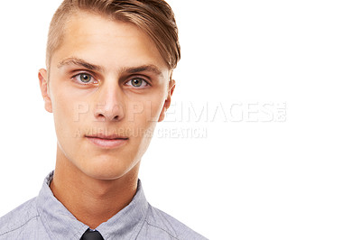 Buy stock photo Closeup studio shot of a handsome young man isolated on white with copyspace