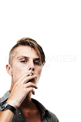 Buy stock photo Cropped shot of a young hipster isolated on white