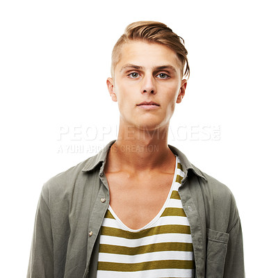Buy stock photo Studio headshot of a serious looking young man isolated on white