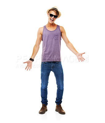 Buy stock photo A full length studio shot of a young man dressed casually and gesturing to the camera isolated on whte