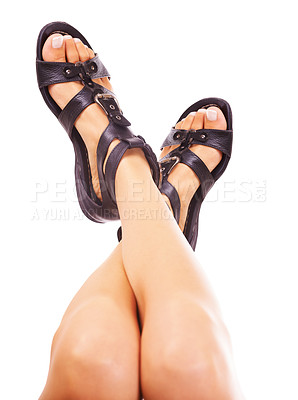 Buy stock photo Closeup of a woman's legs wearing sandals