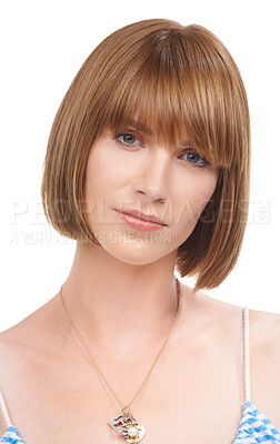 Buy stock photo A beautiful young woman looking calm against a white background