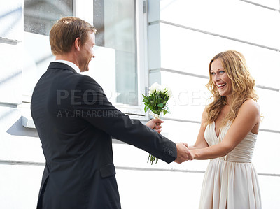Buy stock photo A beautiful smiling woman receives white roses from her boyfriend