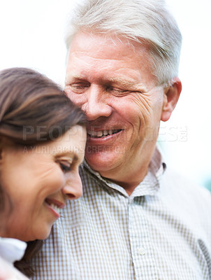 Buy stock photo Cropped shot of an affectionate senior couple