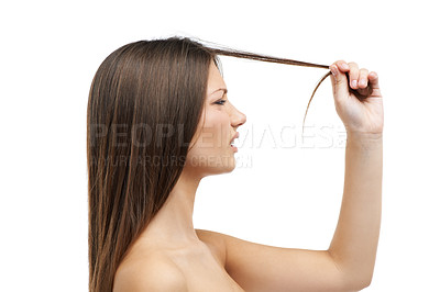 Buy stock photo A beautiful young woman frustrated by her split ends while isolated on a white background