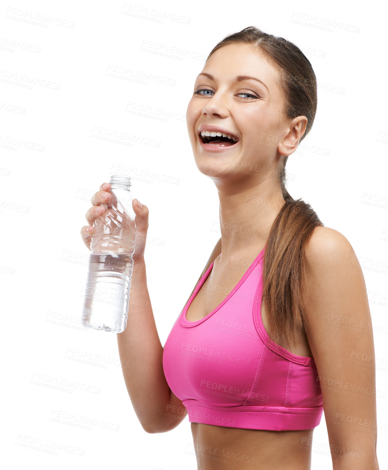 Buy stock photo A pretty young woman enjoying water after an energizing workout