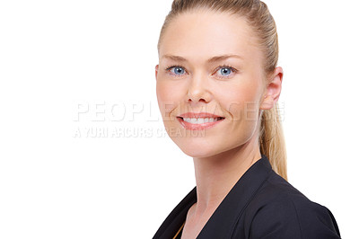 Buy stock photo Studio portrait of a smiling young woman isolated on white