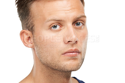 Buy stock photo Studio portrait of a young man isolated on white