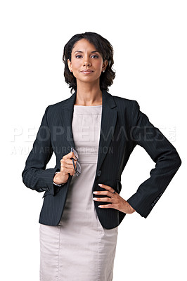 Buy stock photo Studio portrait of a successful businesswoman posing against a white background