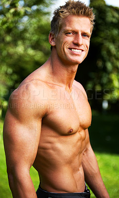 Buy stock photo Fitness Champion Denmark 2006. An enourmous amount of training and dieting went into sculpturing this figure.