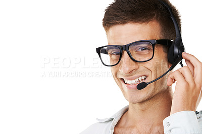 Buy stock photo Portrait of a smiling man with hipster glasses and a headset on