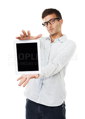 Buy stock photo A man with hipster glasses holding a touch screen with a white background