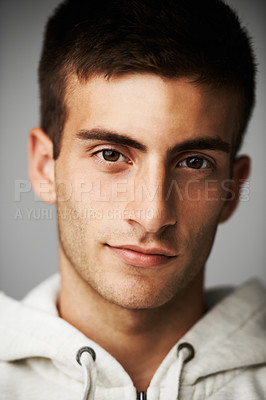 Buy stock photo Portrait of a serious male