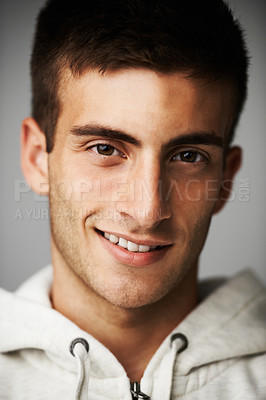 Buy stock photo A close up portrait smiling at the camera