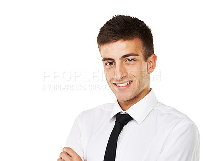 Buy stock photo Portrait of a smiling man with a white background