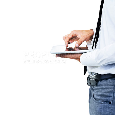Buy stock photo A side view of a man touching his touch screen with white background
