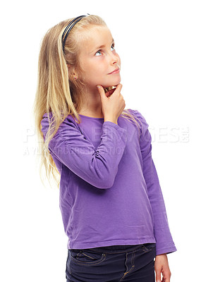 Buy stock photo Little girl looking thoughtfully upwards, isolated on white