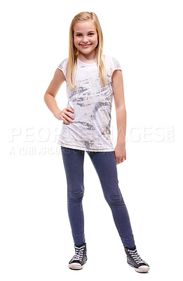 Buy stock photo Full length shot of a young girl posing confidently against a white background