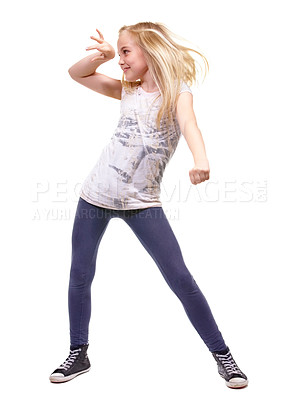 Buy stock photo Full length shot a young girl dancing against white background