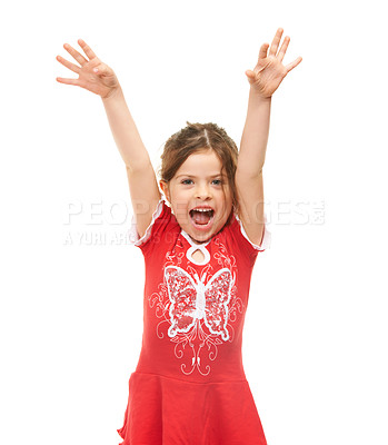 Buy stock photo Cute little girl expressing excitement against a white background