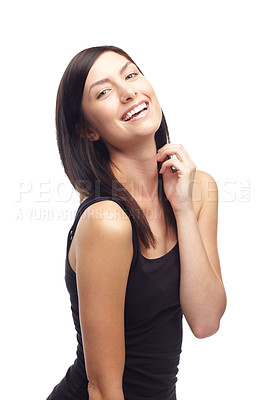 Buy stock photo A beautiful young girl laughing while isolated on a white background