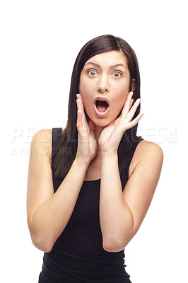 Buy stock photo A shocked young woman isolated on a white background