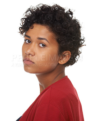 Buy stock photo A young woman looking bored