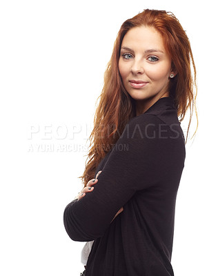 Buy stock photo Portrait of a redhead looking over her shoulder
