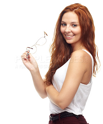 Buy stock photo Portrait of trendy young woman holding a pair spectacles